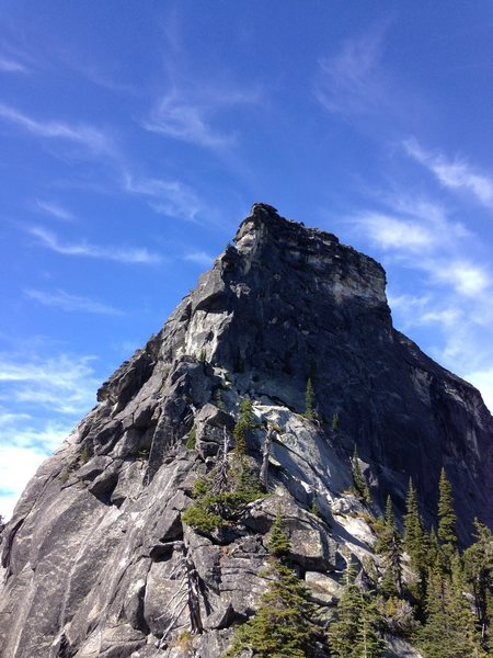 The east buttress. The route follows the ridge crest passing most bulge/roofs on the left