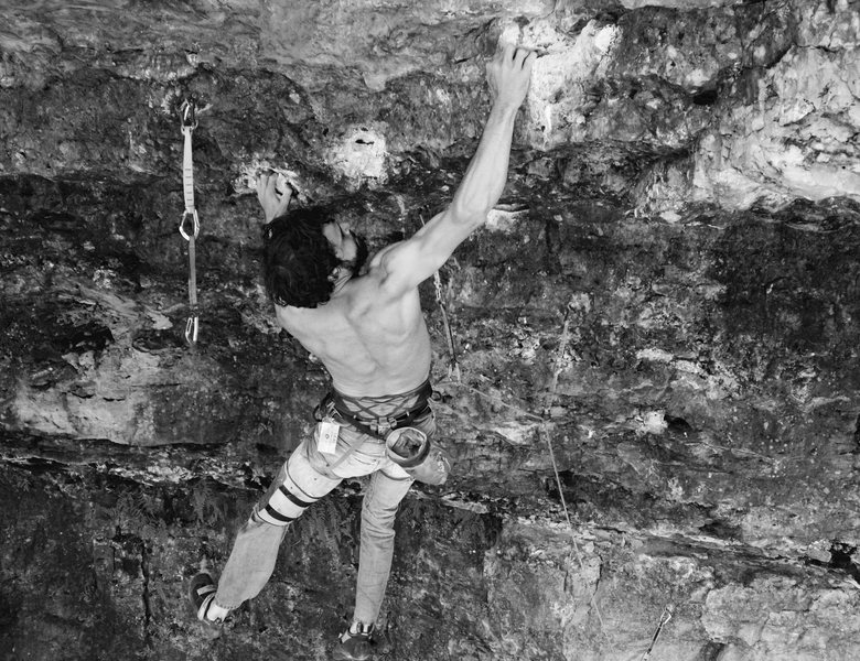 Rock Climbing Photo: Ryan on the crux first roof, campusing through aft...