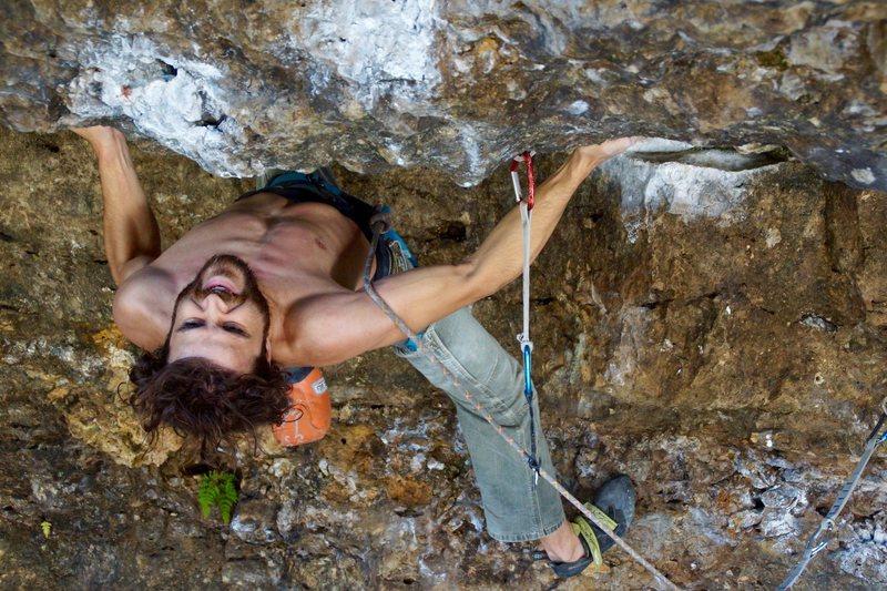 Rock Climbing Photo: the pre-crux stare down