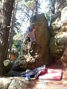 Rock Climbing Photo: Getting to the slopey jug.  Gets pretty interestin...