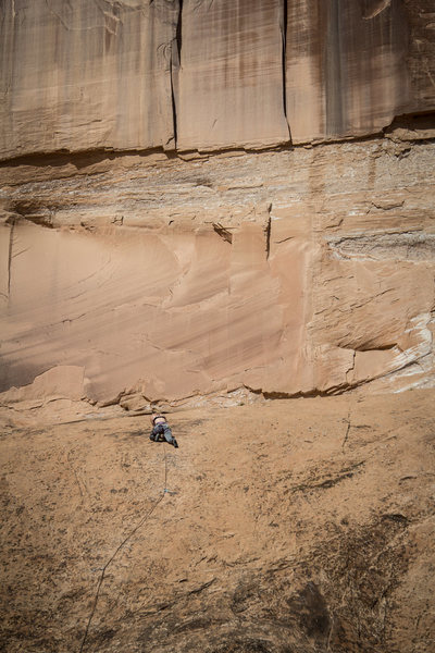 Kelsey in a sea of sandstone