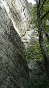 Rock Climbing Photo: The first pitch of Built to Tilt as seen approachi...