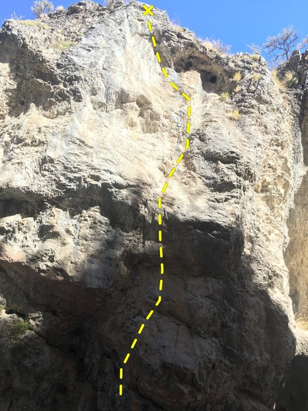 Start in choss to left of bottom bulge. All good rock after first bolt