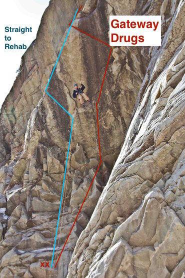 Topo for Straight to Rehab. We added a belay anchor on a nice little ledge. Shares anchors with Gateway Drugs.