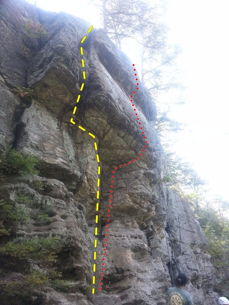 Rock Climbing Photo: View of handcrack to left (yellow line), with arag...