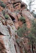 Rock Climbing Photo: Basil negotiating the roof on Rat Race.