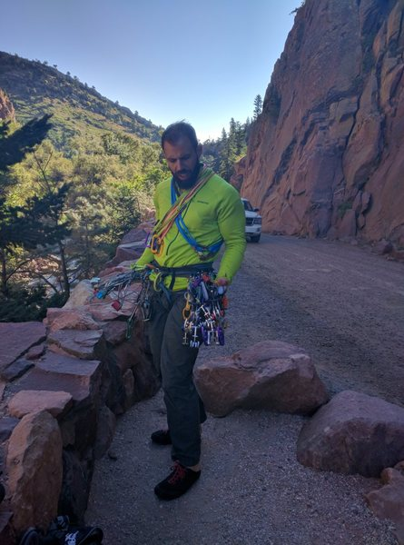 Wondering what to do with all those gizmos...   At Bastille Crack in Eldorado Canyon