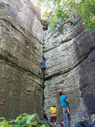 Rock Climbing Photo: Working my way up Albino Rhino at Sam's Throne