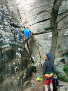 Rock Climbing Photo: Leading the way up Poison Ivy at Sam's Throne