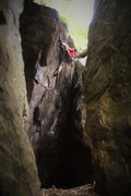 Rock Climbing Photo: Aaron Parlier topping out Inner Beauty