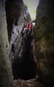 Rock Climbing Photo: Aaron Parlier on the FA of Inner Beauty (V4/5)