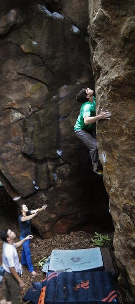 "Christian Backman squeezing the impeccable and proud ""Hell or High Water"" (V5)"
