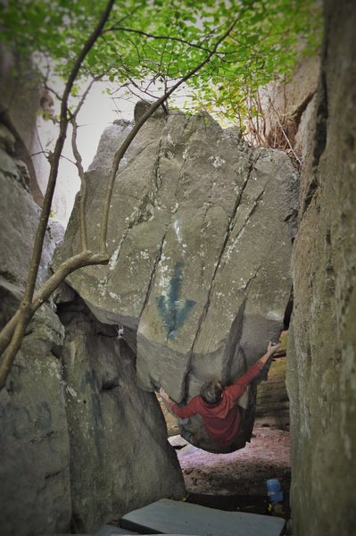 "Jeremy Parnell compressing carats on the 2nd ascent of ""Diamonds Are Forever"" (V8) at the Flag Rock Boulders"