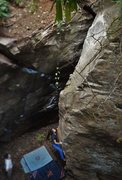 Rock Climbing Photo: Sierra Tackling the low crux before entering highe...