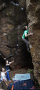 "Rock Climbing Photo: Christian squeezing upwards on ""Hell or High ..."