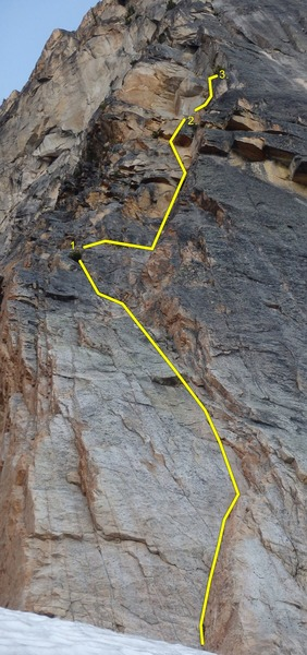 Rock Climbing Photo: We broke the first 2 pitches into 3 pitches, as sh...
