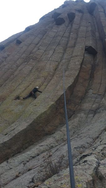 Bill lugg starting up lovely liana.  The roof on the right is mid route on POTC.