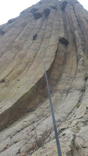 Bill Lugg finished with the stemming crux moving through the flared crack on the top of lovely liana.