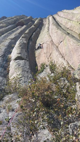 Rock Climbing Photo: Bill lugg getting that stem on double indemnity.  ...