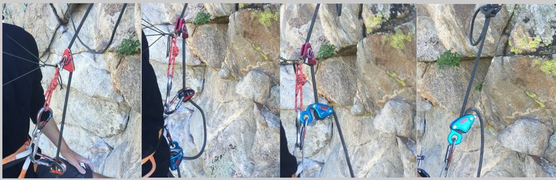 Sequence demonstrating transitioning to descend under weight; top rope solo; tr solo<br> The key to easy transition is extending the primary ascender<br> Works with any style descender <br> Minimalist paracord chest harness<br> https://www.mountainproject.com/v/111102395