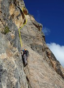 Rock Climbing Photo: Benjamin on pitch 2 approaching the overhanging 5....