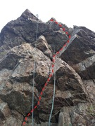 Rock Climbing Photo: Looking up, follow the rope on the right.