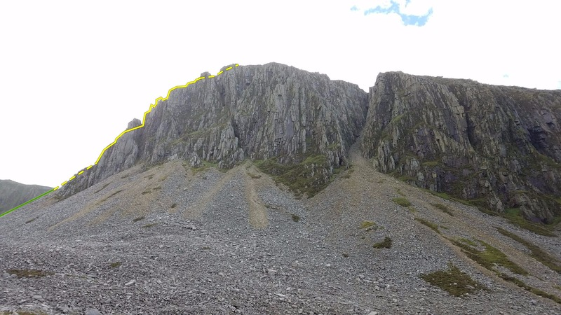 Cyfrwy Arete from the approach