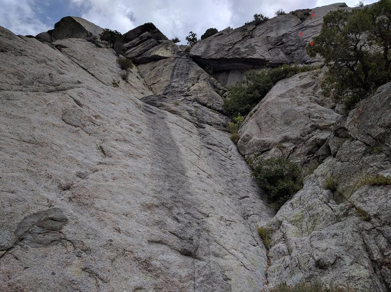 Rock Climbing Photo: The start. Bolt locations are approximate. Scrambl...