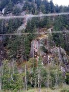 Rock Climbing Photo: Red lines indicate climbing. green lines indicate ...
