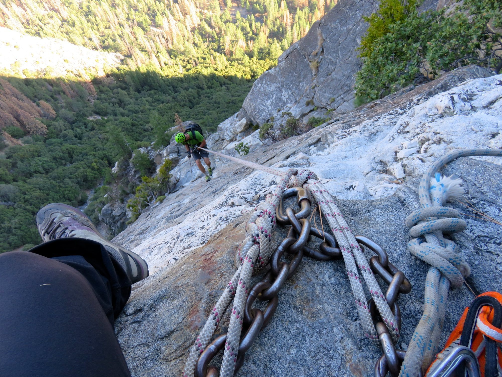 East Ledges Descent  Rappel 1 of 4. There were fixed ropes in decent shape 7266ed6f8390