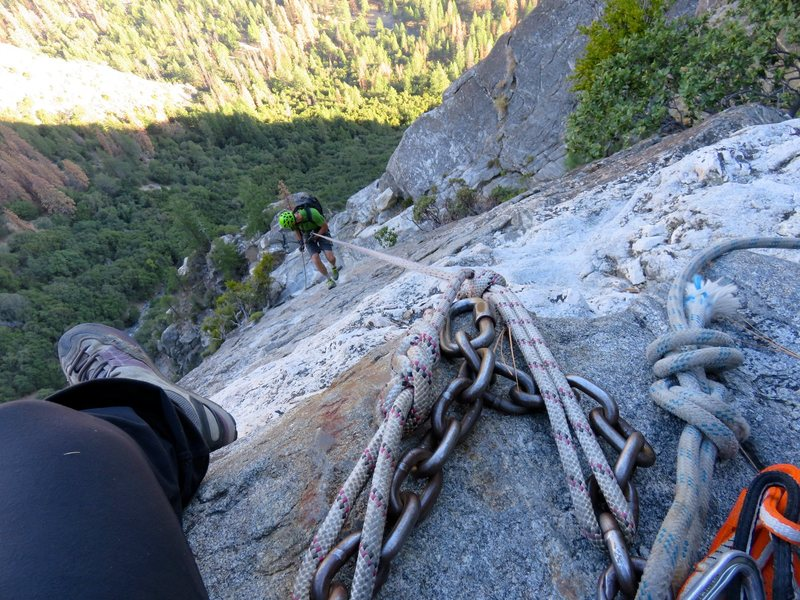 East Ledges Descent: Rappel 1 of 4. There were fixed ropes in decent shape in Sept 2016.