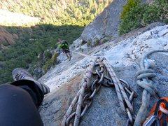 Rock Climbing Photo: East Ledges Descent: Rappel 1 of 4. There were fix...
