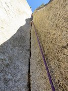 Rock Climbing Photo: Pitch 2: Flaring groove above the 10b crux.