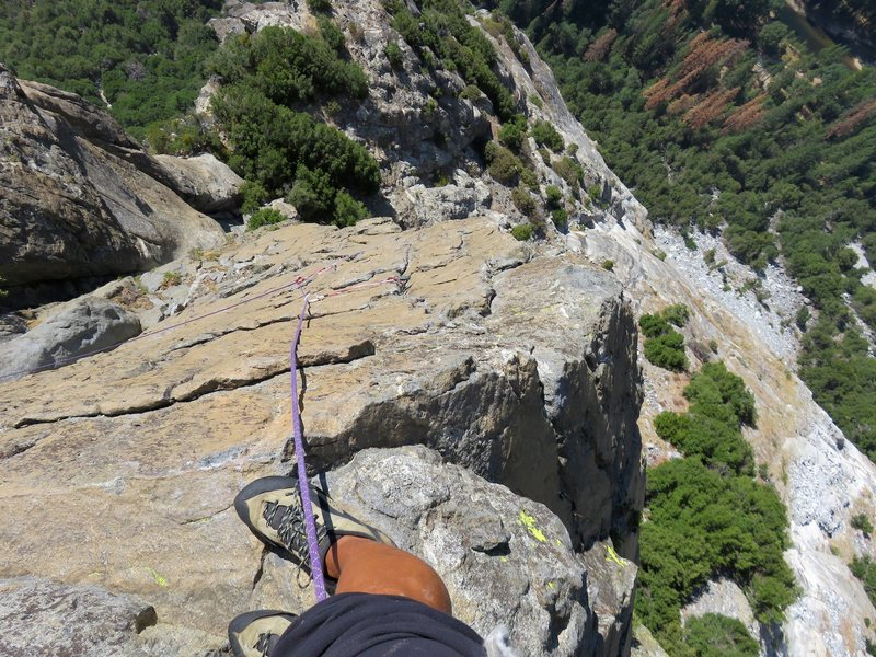 Pitch 4: Looking down the wildly exposed arete on this pitch.