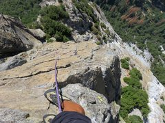 Rock Climbing Photo: Pitch 4: Looking down the wildly exposed arete on ...