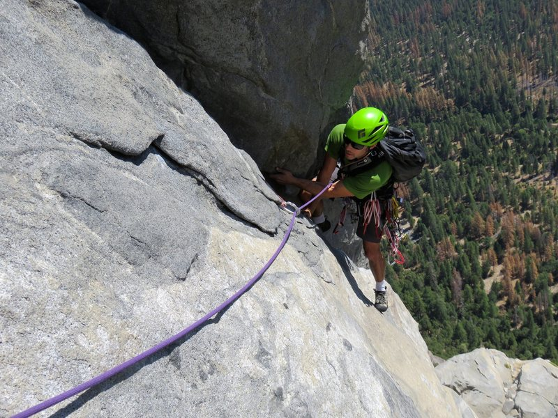 Pitch 8: Awesome climbing. This was a challenging pitch. Yosemite 5.9.
