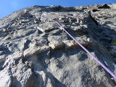 Rock Climbing Photo: Pitch 11. Steep slightly-runout 5.8 knobby face cl...