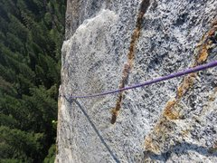 Rock Climbing Photo: Pitch 6 is a face traverse into the crack systems....