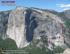 Rock Climbing Photo: Route Overlay East Buttress of El Cap.