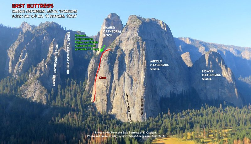 Route Overlay East Buttress of Middle Cathedral.