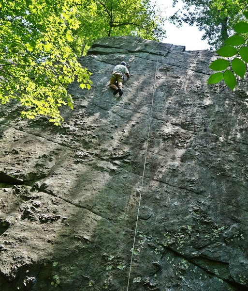 Rock Climbing Photo: a climber on the upper crux of the 'flake'...