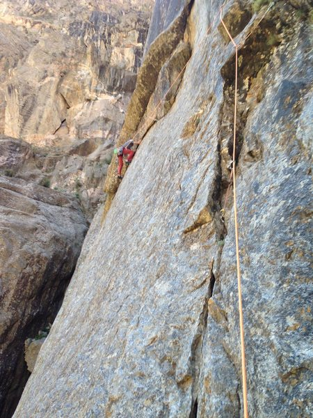 Pitch 6 traverse.