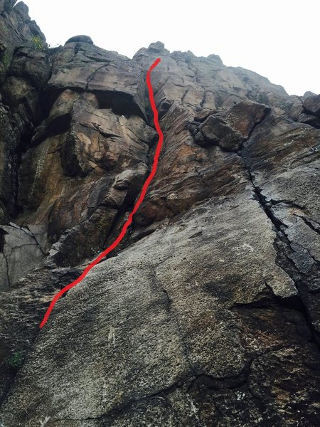 Rock Climbing Photo: The route marked in a close up shot.