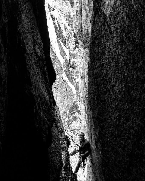 "Rock Climbing Photo: Tyler at the Pitch 1 belay of ""The Great Chim..."