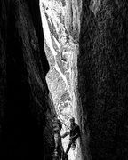 """Rock Climbing Photo: Tyler at the Pitch 1 belay of """"The Great Chim..."""