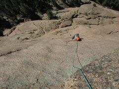 Rock Climbing Photo: Scott follows the combined P3/4 for Ramblin' R...
