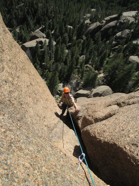 Rock Climbing Photo: Scott comers out of the top of our P2 (top of P4 b...