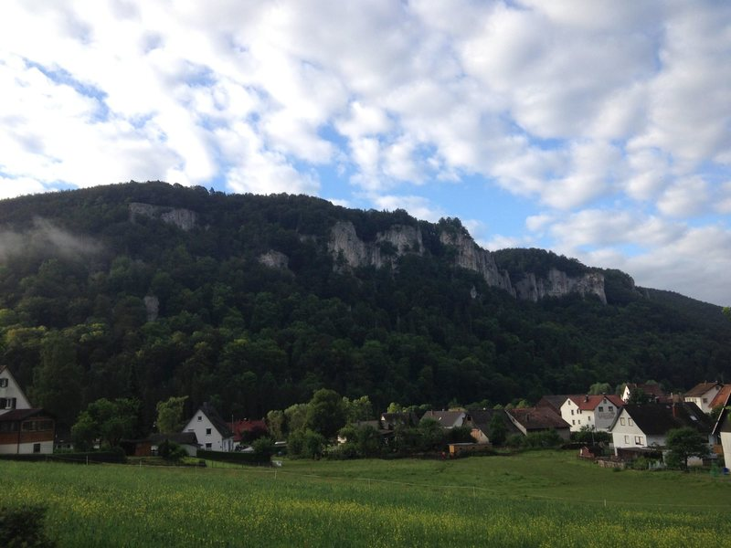 A view of the many crags which start just across the Danube from the village of Hausen im Tal