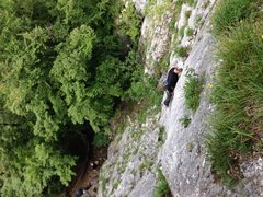 Rock Climbing Photo: Climber on first pitch of Letzte Mohikaner
