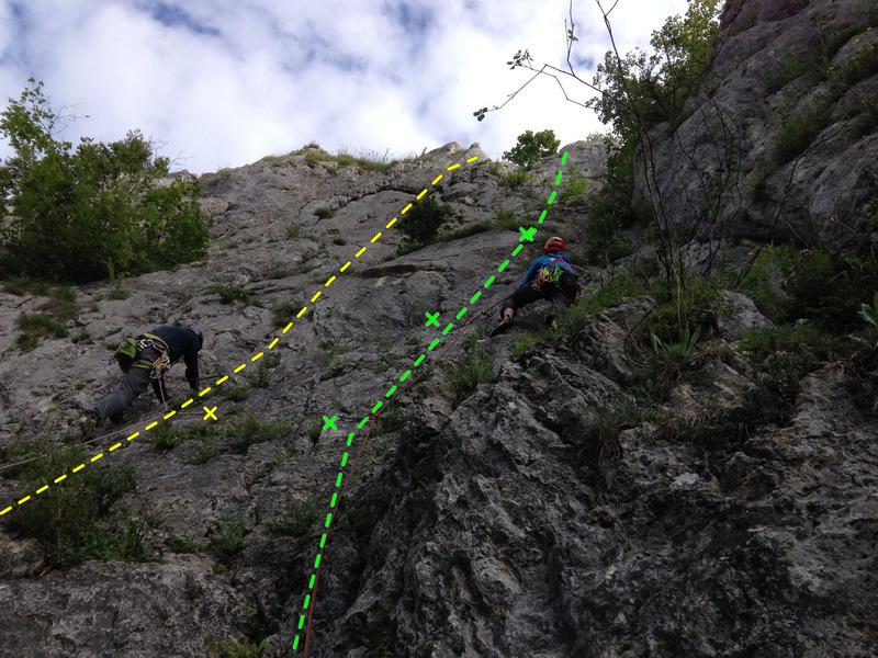 Left climber on Letzte Mohikaner. Right climber on Irisweg.